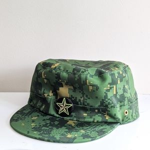 Kid's Green Camo Military Cap